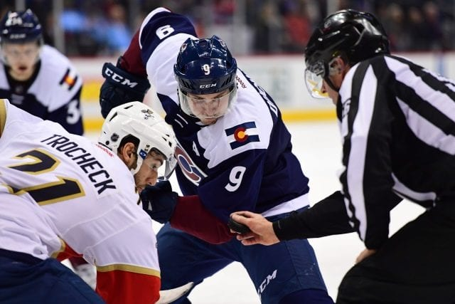 Matt Duchene of the Colorado Avalanche and Vincent Trocheck of the Florida Panthers