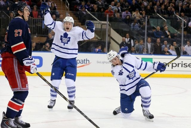Tyler Bozak of the Toronto Maple Leafs and Ryan McDonagh of the New York Rangers