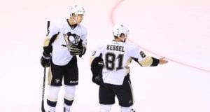 Phil Kessel and Olli Maatta of the Pittsburgh Penguins