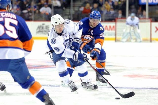 John Tavares of the New York Islanders and Tyler Johnson of the Tampa Bay Lightning