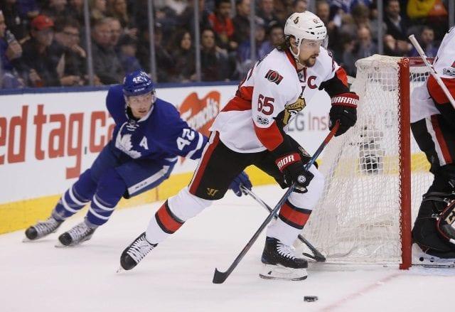 Ottawa Senators defenseman Erik Karlsson and Toronto Maple Leafs forward Tyler Bozak