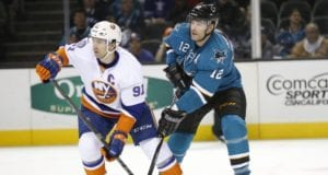 John Tavares of the New York Islanders and Patrick Marleau now of the Toronto Maple Leafs