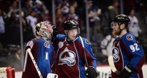 Semyon Varlamov, Matt Duchene and Gabriel Landeskog of the Colorado Avalanche