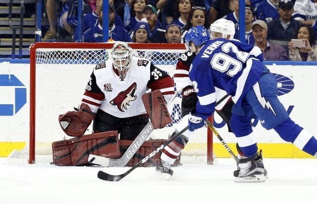 The Arizona Coyotes trade Louis Domingue to the Arizona Coyotes