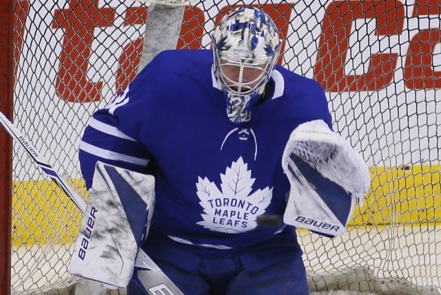 Frederik Andersen leaves after taking a skate to the head