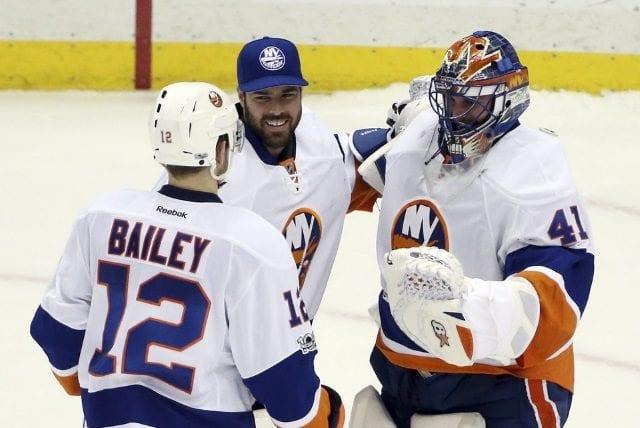 New York Islanders Josh Bailey, Jaroslav Halak and Thomas Greiss
