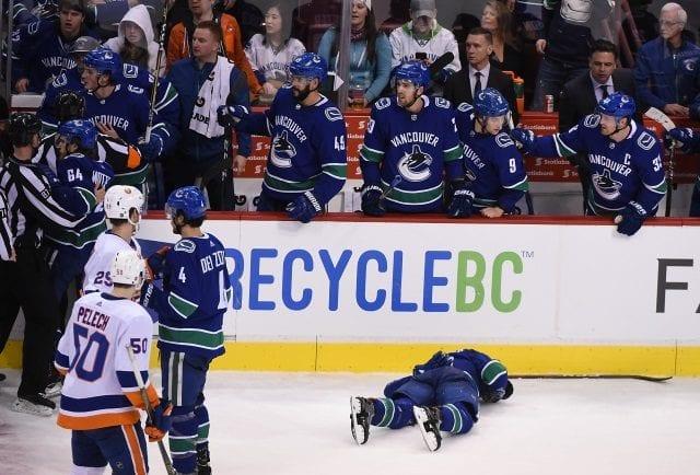 Vancouver Canucks forward Brock Boeser taken to the hospital as a precaution.