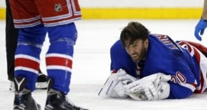Henrik Lundqvist misses last night's game with a neck injury.