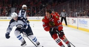 Jonathan Toews out with an upper-body injury. Jacob Trouba progressing from his concussion.