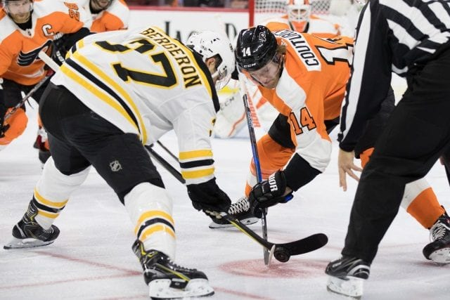 Patrice Bergeron misses Game 4 with an upper-body injury. Sean Couturier is hopeful for Game 5.