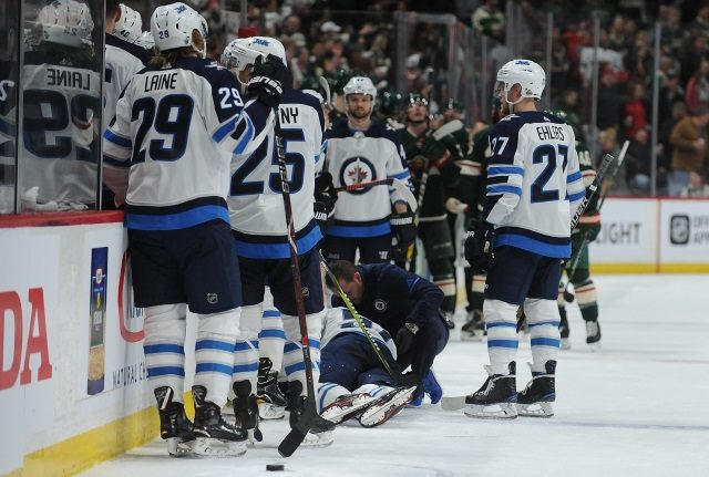Tyler Myers left early with a lower-body injury