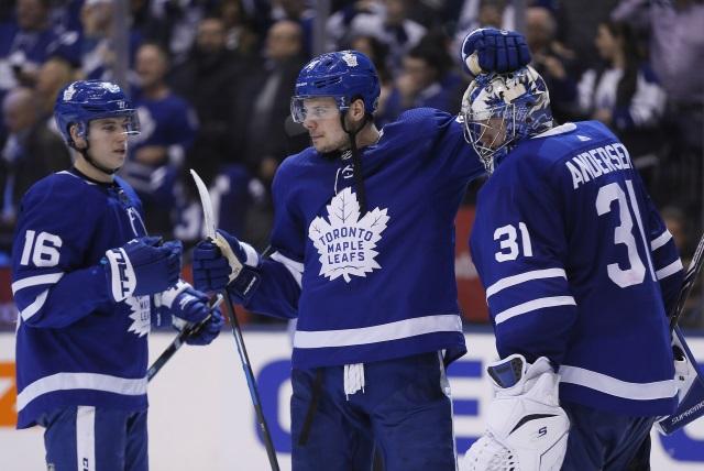 Toronto Maple Leafs Auston Matthews, Mitch Marner and Frederik Anderson