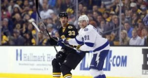Zdeno Chara returned to the lineup. Steve Stamkos left with a lower-body injury.