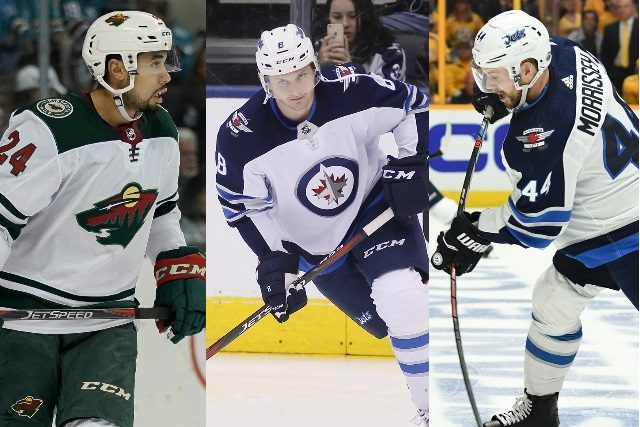 NHL restricted free agent defenseman Matt Dumba, Jacob Trouba and Josh Morrissey