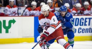 The Vancouver Canucks are interested in Carolina Hurricanes restricted free agent defenseman Noah Hanifin.