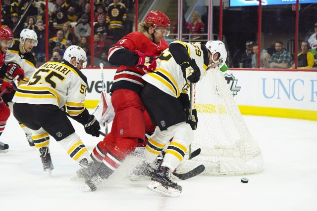 Noah Hanifin could be one defenseman the Bsoton Bruins target this offseason as they look to upgrade their blue line.