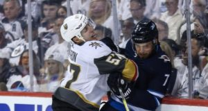 Vegas Golden Knights forward David Perron missed Game 2 with an illness.