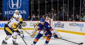 John Tavares of the New York Islanders and Kris Letang of the Pittsburgh Penguins