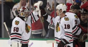 Chicago Blackhawks Corey Crawford and Jonathan Toews