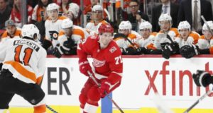 Dylan Larkin of the Detroit Red Wings and Travis Konecny of the Philadelphia Flyers