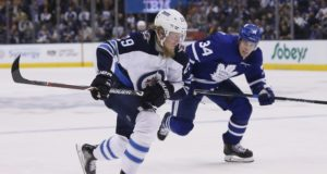 Auston Matthews of the Toronto Maple Leafs and Patrik Laine of the Winnipeg Jets