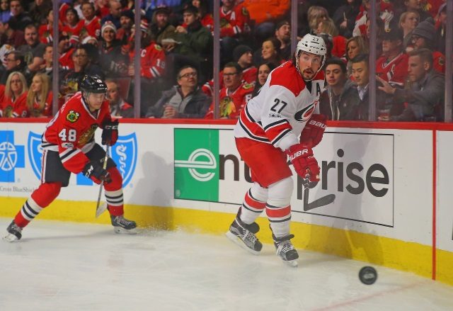 The Chicago Blackhawks are looking at Carolina Hurricanes defenseman Justin Faulk with the extra salary cap space they now have.