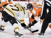 Patrice Bergeron and Sean Couturier are two the leading candidates for Selke Trophy next season.