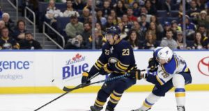 Sam Reinhart of the Buffalo Sabres and Jay Bouwmeester of the St. Louis Blues