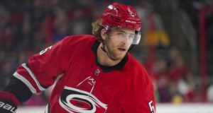 The Calgary Flames sign Noah Hanifin to a six-year contract.