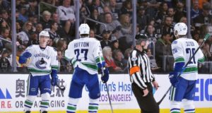 Vancouver Canucks Ben Hutton and Nikolay Goldobin