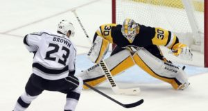 Matt Murray practiced yesterday. Dustin Brown was on the ice practicing yesterday.