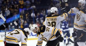 Torey Krug will be re-evaluated in three weeks. Patrice Bergeron took contact in practice.