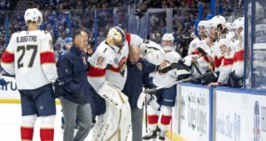 Roberto Luongo leaves last night's game with a lower-body injury
