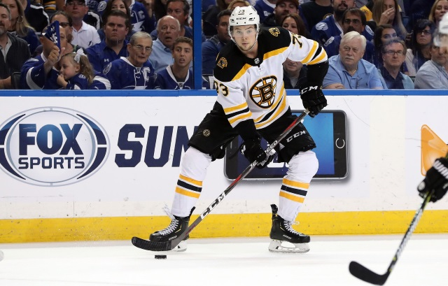 Boston Bruins defenseman Charlie McAvoy skating