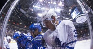 The Toronto Maple Leafs have traded forward Josh Leivo to the Vancouver Canucks.
