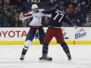 Josh Anderson injured last night. Tom Wilson practices in a no-contact jersey.