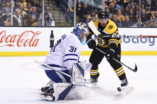 Frederik Andersen is day-to-day with groin injury. Brad Marchand could return for the Winter Classic.