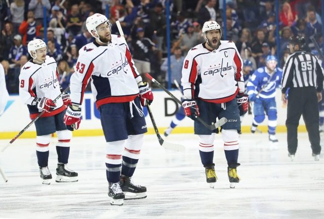 Alex Ovechkin and Tom Wilson