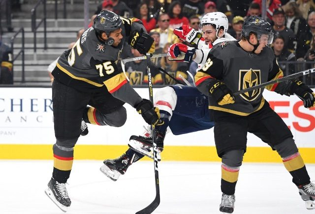 Vegas Golden Knights Ryan Reaves ejected for his hit on Washington Capitals Tom Wilson