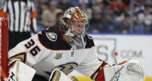 John Gibson doesn't return for the second period.