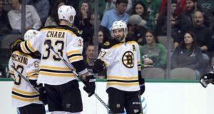 Injury updates to Boston Bruins Patrice Bergeron and Zdeno Chara.