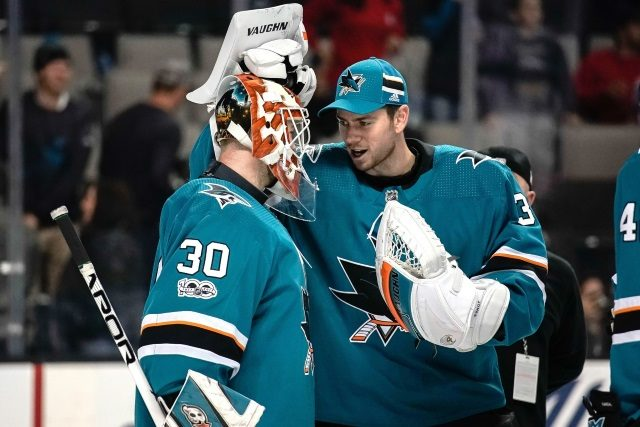 The San Jose Sharks goaltending duo of Martin Jones and Aaron Dell have the lowest combined save percentage.