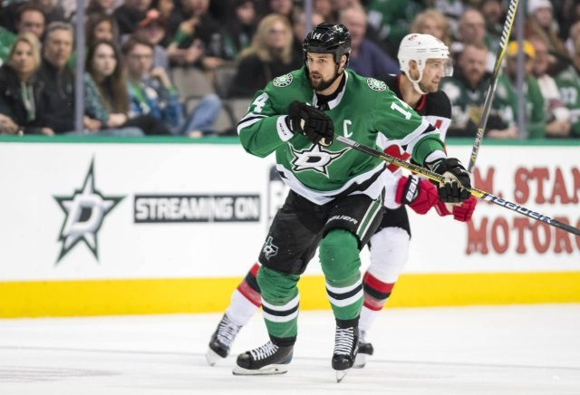 Dallas Stars Jamie Benn leaves early after late hit from Miles Wood.