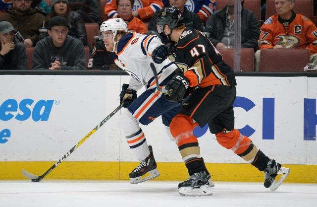 Anaheim Ducks Hampus Lindholm with a dangerous hit on Edmonton Oilers Connor McDavid