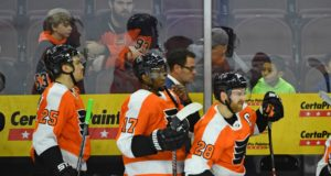 The Philadelphia Flyers won't be trading Claude Giroux. Talks with Wayne Simmonds continue. The Flyers are trying to trade Dale Weise.