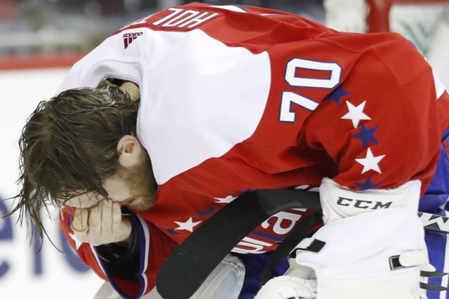 Washington Capitals goalie Braden Holtby took a stick to the eye area.