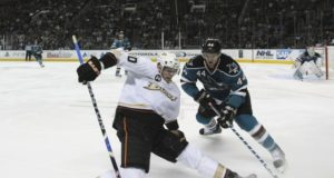 Corey Perry skates with teammates yesterday. Marc-Edouard Vlasic could have played but not worth the risk.