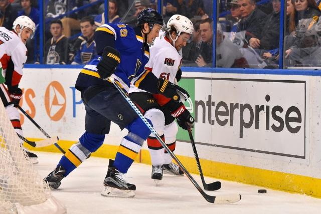 Team are watching defenseman Jay Bouwmeester. The Ottawa Senators may have met with Mark Stone's agency on Monday.