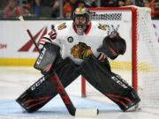 Corey Crawford able to practice for a bit.