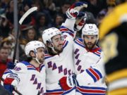The New York Rangers dress Mats Zuccarello, Kevin Hayes and Adam McQuaid. McQuaid pulled for precautionary reasons